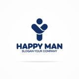 Gelukkige menselijke embleem cuan kleur met de silhouetmens met handen op FO Stock Afbeelding