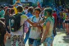 Gelukkige mensen bij Holi-Festival van Kleuren Royalty-vrije Stock Fotografie