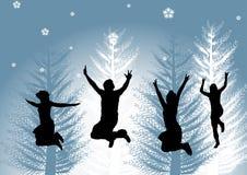 Gelukkige mensen in de winter stock illustratie