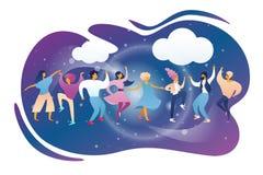 Gelukkige Mensen die en bij Nachtclub knuppelen dansen vector illustratie