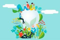 Gelukkige mensen die het milieu en de aarde behandelen die van de tuin en de aard houden Royalty-vrije Stock Foto