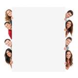Gelukkige mensen met banner Stock Afbeelding