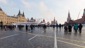 Gelukkige mensen op Rood Vierkant, Rusland Royalty-vrije Stock Fotografie