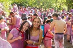 Gelukkige mensen tijdens Batalla del vino Stock Afbeeldingen