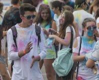 Gelukkige mensen tijdens Festival van kleuren Holi Royalty-vrije Stock Fotografie