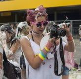 Gelukkige mensen tijdens Festival van kleuren Holi Royalty-vrije Stock Afbeelding