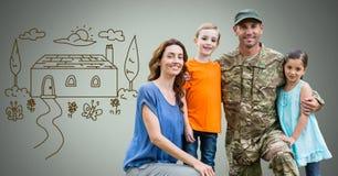 Gelukkige Militaire Familie met huistekening royalty-vrije illustratie