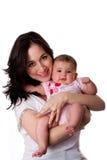 Gelukkige moeder en babydochter Stock Afbeelding