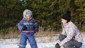 Gelukkige moeder en haar kind het spelen sneeuwballen in het bos stock videobeelden