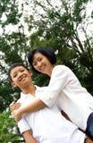 Gelukkige moeder en zoon Stock Afbeelding