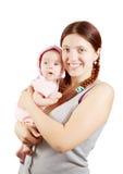 Gelukkige moeder met 2 maandbaby Stock Afbeelding