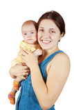 Gelukkige moeder met 3 maandbaby Stock Afbeeldingen