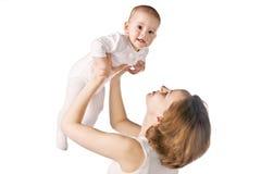 Gelukkige moeder met baby Stock Foto's
