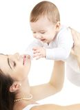 Gelukkige moeder met babyjongen Royalty-vrije Stock Foto's