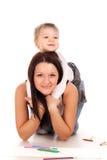 Gelukkige moeder met een kind Stock Afbeelding