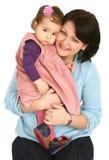 Gelukkige moeder met weinig dochter Stock Fotografie