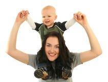Gelukkige moeder met weinig zoon Royalty-vrije Stock Afbeelding