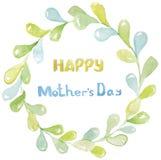 Gelukkige moeder`s dag De inschrijving is geel en blauw in een lichtgroen kader van ronde bladeren royalty-vrije illustratie