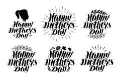 Gelukkige Moeder` s dag, etiketreeks Vakantiepictogrammen of symbolen Met de hand geschreven het van letters voorzien kalligrafie Royalty-vrije Stock Afbeelding