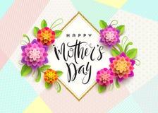 Gelukkige moeder` s dag - Groetkaart De groet en de bloemen van de borstelkalligrafie Stock Foto's