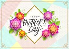 Gelukkige moeder` s dag - Groetkaart De groet en de bloemen van de borstelkalligrafie op patroonachtergrond Stock Afbeeldingen