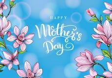 Gelukkige moeder`s dag Groetkaart met Moeder` s Dag Bloemen achtergrond Vector illustratie Stock Afbeeldingen