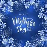 Gelukkige moeder`s dag Groetkaart met Moeder` s Dag Bloemen achtergrond Vector illustratie Stock Foto's