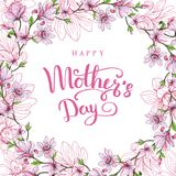 Gelukkige moeder`s dag Groetkaart met Moeder` s Dag Bloemen achtergrond Vector illustratie Stock Foto