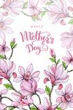 Gelukkige moeder`s dag Groetkaart met Moeder` s Dag Bloemen achtergrond Vector illustratie Royalty-vrije Stock Afbeeldingen