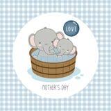 Gelukkige moeder`s dag Moederolifant met kind royalty-vrije illustratie