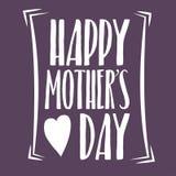 Gelukkige Moedersdag die Kalligrafisch Embleem van letters voorzien Vectorontwerpelement voor Groetkaart en Andere Drukmalplaatje Stock Foto