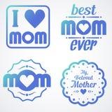 Gelukkige Moedersdag die Kalligrafische Geplaatste Emblemen en Kentekens van letters voorzien Vectorontwerpelementen voor Groetka Stock Foto