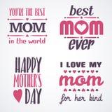 Gelukkige Moedersdag die Kalligrafische Geplaatste Emblemen en Kentekens van letters voorzien Vectorontwerpelementen voor Groetka Stock Fotografie