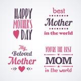 Gelukkige Moedersdag die Kalligrafische Geplaatste Emblemen en Kentekens van letters voorzien Vectorontwerpelementen voor Groetka Royalty-vrije Stock Foto's