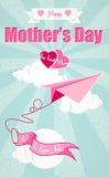 Gelukkige Moedersdag en origamivliegtuig Royalty-vrije Stock Afbeeldingen