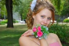 Gelukkige mooie bruid Stock Foto's