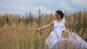 Gelukkige mooie bruid die op gebied lopen stock video