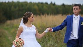 Gelukkige mooie bruid en bruidegom die op gebied lopen stock footage