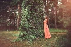 Gelukkige mooie jonge vrouw in het park van de de lentebloesem Royalty-vrije Stock Foto