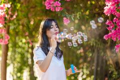 Gelukkige mooie jonge vrouwen blazende zeepbels openlucht stock foto
