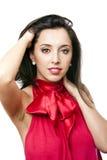 Gelukkige mooie vrouw in rood royalty-vrije stock fotografie