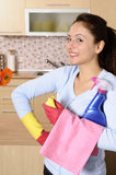 Gelukkige mooie vrouwen na het schoonmaken van het huis Stock Afbeeldingen