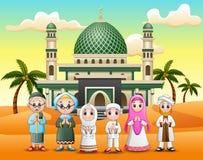 Gelukkige moslimfamilie die vooraan een moskee wensen royalty-vrije illustratie