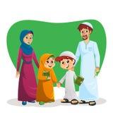 Gelukkige Moslimfamilie met Jonge geitjes stock illustratie