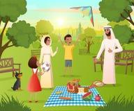 Gelukkige Moslimfamilie op Picknick in de Vector van het Stadspark royalty-vrije illustratie