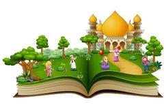 Gelukkige moslimfamilie vooraan de moskee van een geopend boek royalty-vrije illustratie