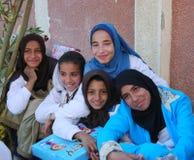 Gelukkige Moslimmeisjes in Egypte Stock Foto's