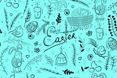 Gelukkige naadloze het patroonachtergrond van Pasen met paaseieren royalty-vrije illustratie