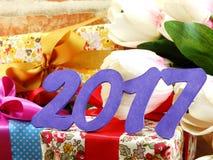 Gelukkige nieuwe de decoratieachtergrond van het jaarconcept Stock Fotografie