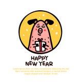 Gelukkige nieuwe de groetkaart van het jaarvarken Grappig varken met gift 2019 Chinees nieuw jaarsymbool De karakters van de krab royalty-vrije illustratie